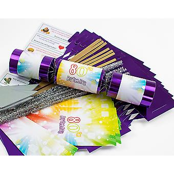 8 Purple Foil 80th Birthday Make & Fill Your Own Cracker Craft Kit