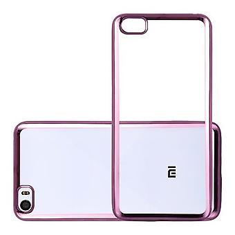 Cadorabo Case for Xiaomi Mi5 - Transparent Case with CHROM PINK - TPU Silicone Phone Case in Chrome Design - Silicone Case Protective Case Ultra Slim Soft Back Cover Case Bumper