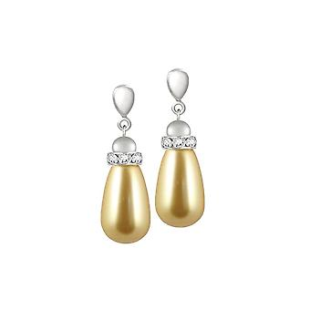 Eternal Collection Beaumont Gold Glass Pearl Silver Tone Drop Screw Back Clip On Earrings