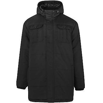 Crosshatch Mens Beekham Plus Size Long Sleeve Full Zip Hooded Parka Jacket Black
