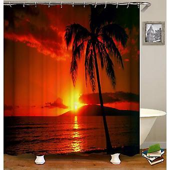 Rideau tropical de douche de coucher du soleil