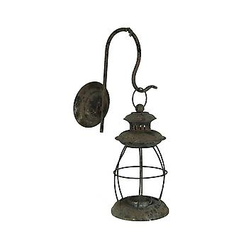 Rustic Distressed Metal Wall Mounted Vintage Lantern Hanging Candle Sconce