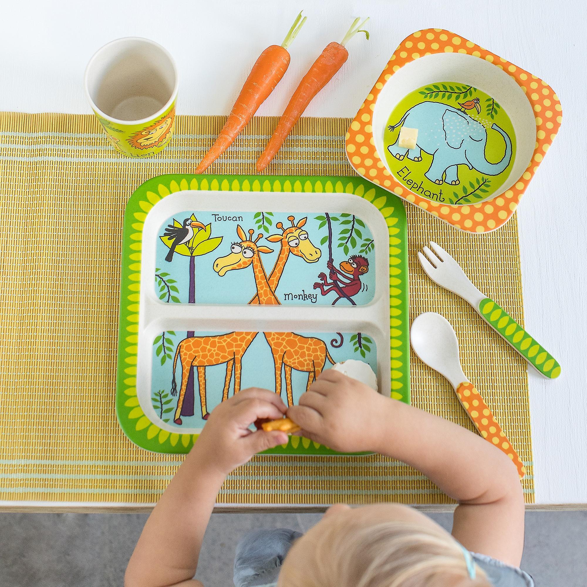 Tyrrell Katz Jungle Design 5pc Bamboo Dinner Set For Children