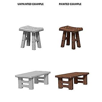 Deep Cuts Unpainted Miniatures Wooden Table and Stools (Pack of 6)