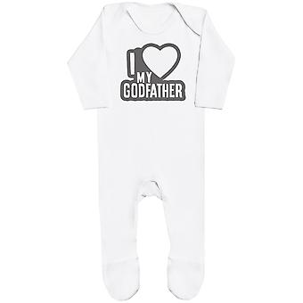 I Love My GodFather Black Outline Baby Romper