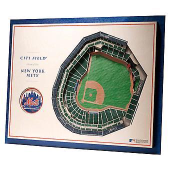Youthefläkt trä väggdekoration stadion New York Mets 43x33cm
