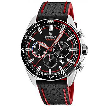 ORIGINAL F20377-6 Festina klocka - stål svart armband läder svart TOPSTITCHING röd man
