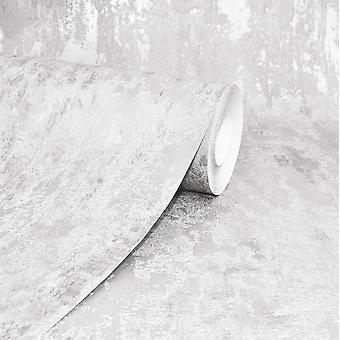 Havana White Distressed Industrial Metallic Wallpaper Paste Wall A.S Creation