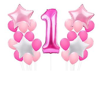 1st Pink Happy Birthday Party Decoration, Foil Latex Balloons - 25pcs