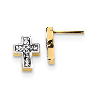 8mm 14k Micro Pave Cubic Zirconia Cross Post Earrings Jewelry Gifts for Women