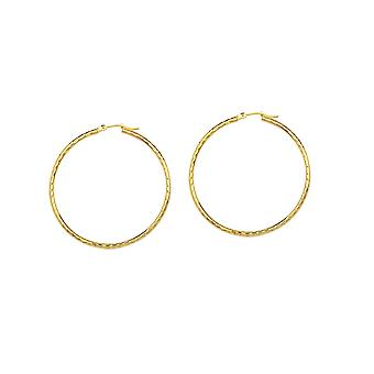10k Yellow Gold 2x30mm Round Tube Hoop Earrings Full Sparkle Cut Jewelry Gifts for Women - 1.3 Grams