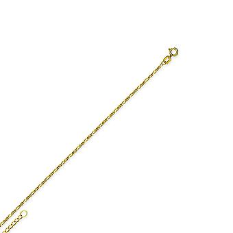 14k Yellow Gold Adjustable 1.3mm Figaro Chain Ankle Bracelet 10 Inch Jewelry Gifts for Women