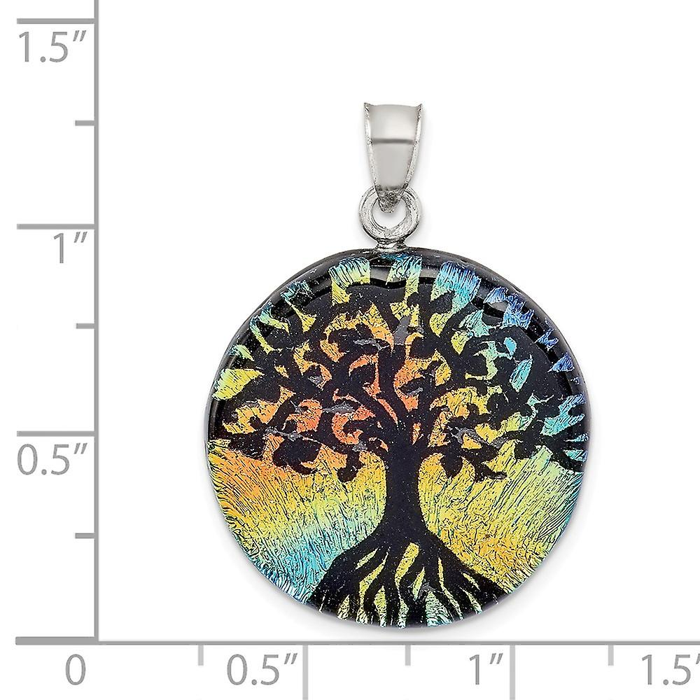 925 Sterling Silver Iridescent Glass Tree Pendant Necklace Jewelry Gifts for Women