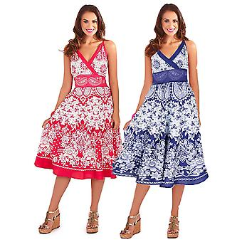 Pistachio Women's Flower Print Strappy Sun Dress