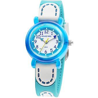 JACQUES FAREL Niños reloj de pulsera analógico cuarzo chica cinta de silicona KFW 4333 azul