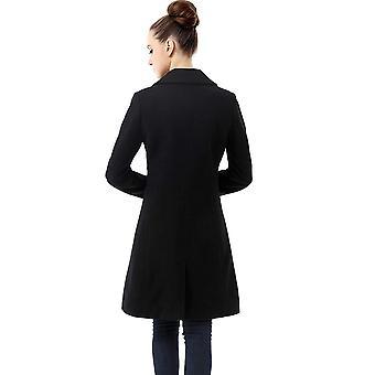 BGSD Women's Heather Wool Blend Walking Coat, Black, Plus Size 2X