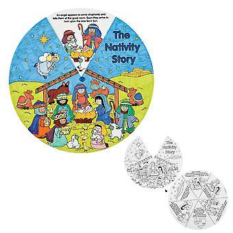 12 Colour Your Own Christian Nativity Storyteller Wheels