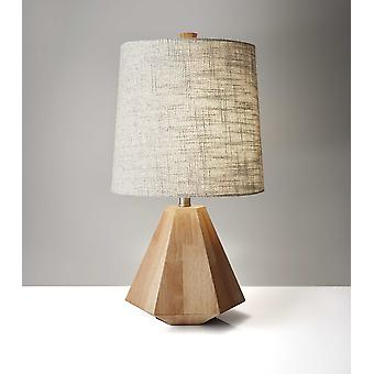 Natural Wood Finish Geometric Base Table Lamp