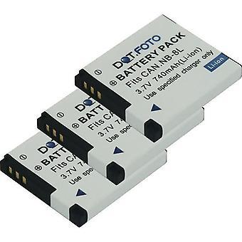 3 x Dot.Foto NB-8L PREMIUM 3.7v / 740mAh batería de cámara recargable de reemplazo para Canon [Consulte Descripción para la compatibilidad]