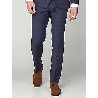 Navy Airforce Check Suit Trousers
