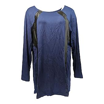 Belle by Kim Gravel Women's Top Curvallusion w/Faux Leather Blue A282718