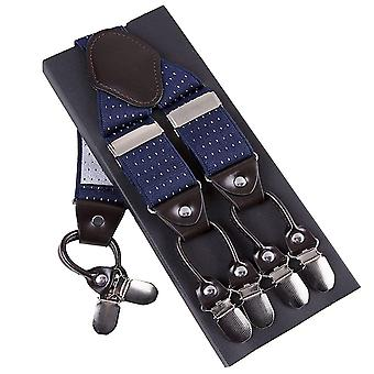 Navy blue & white polka dot adjustable men's braces