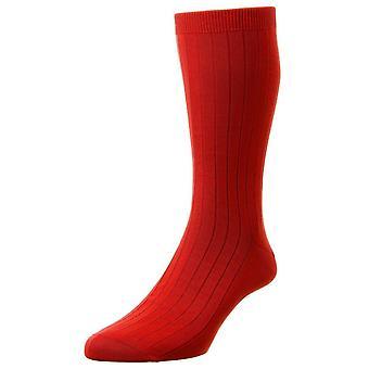 Pantherella Pembrey Sea Island Cotton Socks - Scarlet