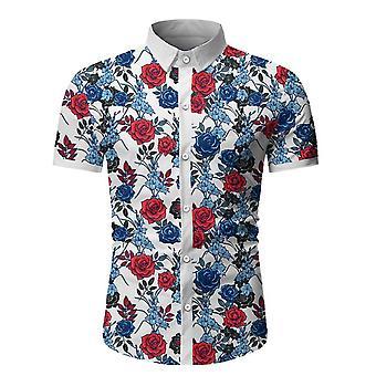 Allthemen Men-apos;s Polyester Lapel Casual Floral Printed Slim Short-Sleeved Shirt