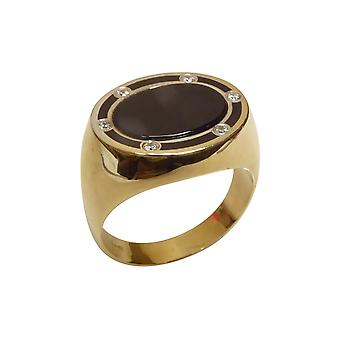 Gold seal ring with onyx and diamonds