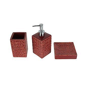 Red Lizard Skin Print 3 Piece Ceramic Bath Accessory Set