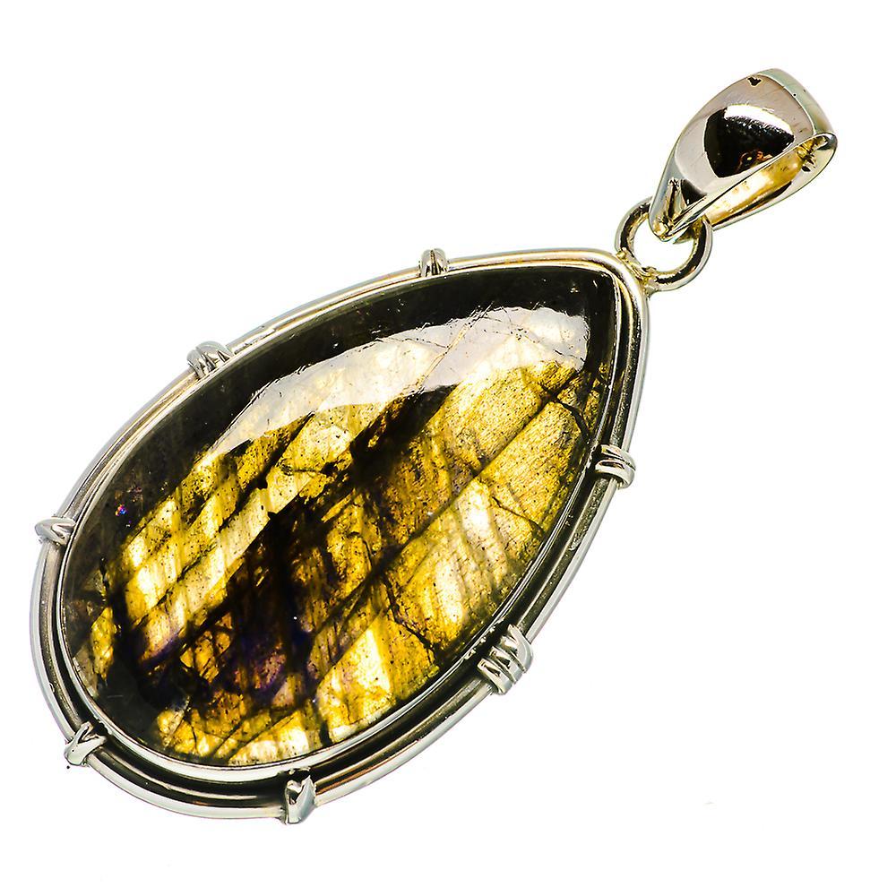 "Labradorite Pendant 2"" (925 Sterling Silver)  - Handmade Boho Vintage Jewelry PD728577"