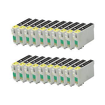 החלפת RudyTwos 20x עבור יחידת הדיו של Epson פוקס שחור תואם S22, SX125, SX130, SX230, SX235W, SX420W, SX425W, SX430W, SX435W, SX438W, SX440W, SX445W, SX445WE, משרד BX305F, BX305FW, BX305FW