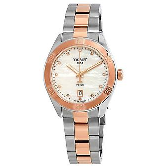 Tissot Watches T101.910.22.116.00 Pr100 Sport Chic Silver And Rose Gold Diamond Dial Ladies Watch