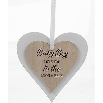 Sentiments Baby Boy Wooden Hearts Plaque