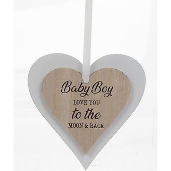 Plaques de coeurs en bois de bébé de garçon de sentiments