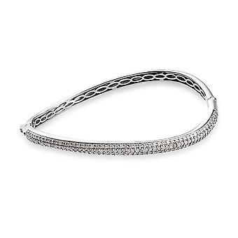 GP Blue Sapphire Silver Platinum Plated Wave Bangle White Diamond, 2.02 Ct