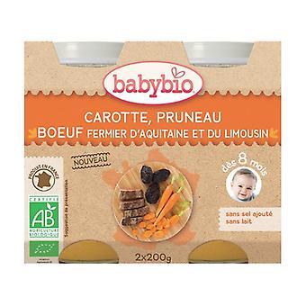 Pienet ruukut Menu Porkkana Prune Organic Farm Beef (alkaen 8 kuukautta) 2 yksikköä 200g