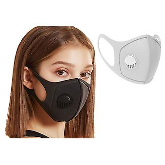 1x Face Mouth Mask with breathing valve, Grey, Washable Reusable