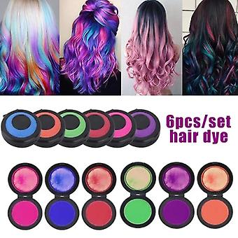 6 Colors Temporary Fast Hair Coloring Set - Hair Dye Powder Cake , Styling