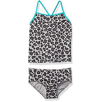 Brand - Spotted Zebra Girls' Tankini Swimsuit, Grey Cheetah, Large (10)