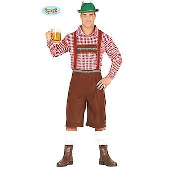 Traje de camisa de pantalones de cuero tirolés para el carnaval de los hombres Oktoberfest Baviera
