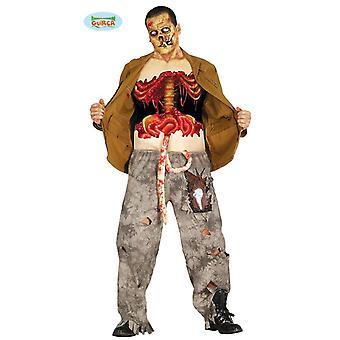 Sangue de coragem zombie terror horror Halloween traje mens único tamanho