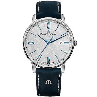Maurice Lacroix Eliros Quartz Antraciet Dial Blue Lederen Band Horloge EL1118-SS001-114-1