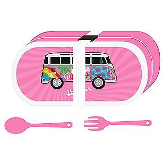 VW Rv T1 Lunch Set Summer Love rosa, impreso, 100% plástico, con tenedor, cuchara y banda de goma.