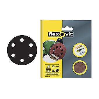 Flexovit Hook & Loop Sanding Discs 150mm Coarse 50g (Pack of 6) FLV26394