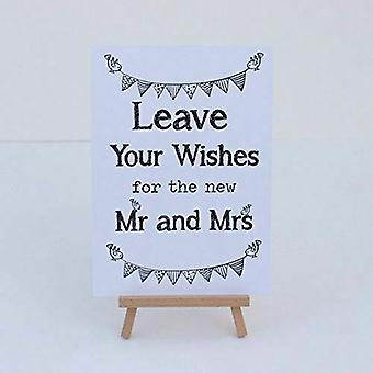 Wedding Card Box / Guest Book White Sign 'Leave Your Wishes' Sign And Easel