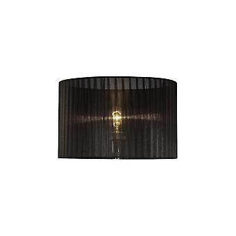 36 cm pyöreä Organza kangas lampunvarjostin musta