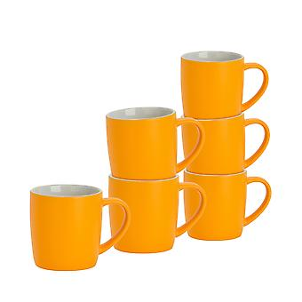 6 Piece Matt Tea and Coffee Mug Set - Modern Style Porcelain Cappuccino Latte Mugs - Yellow - 350ml