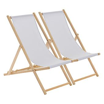 Wooden Deck Chair - Traditional Beach Style Adjustable Folding Chair - Light Grey - Pack of 2