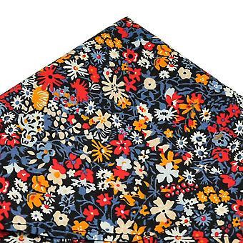 Solmiot Planet Van Buck Floral Affair Navy Pocket Square tehty Liberty Fabric